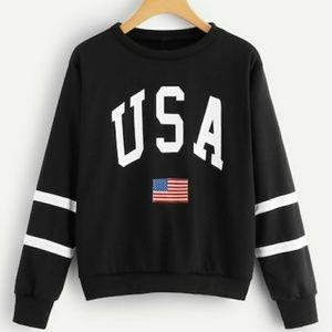 Tops - Black USA Pullover Sweatshirt